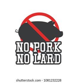 no pork no lard sticker icon, vector illustration