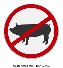 No pork sign. Dietary restriction. Vector illustration