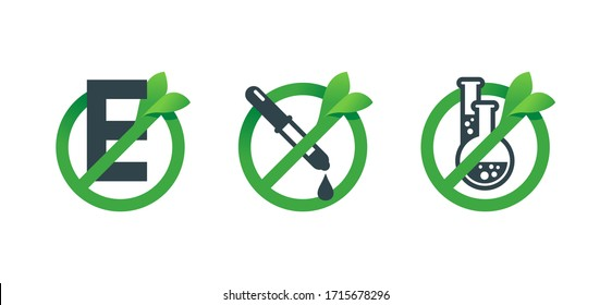 No preservatives, no additives, E number and dye free 3 in 1 stamp - organic food stickers set - green natural vector icons (labels)