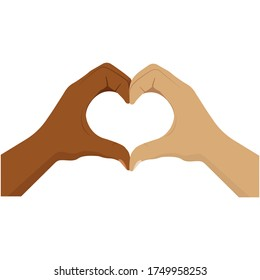 No to racism. Heart shape with hands. Friendship between people. Stop discrimination. Black and white skin. Hands of love. Together against racism. Symbol of love. Isolated work. Vector EPS 10