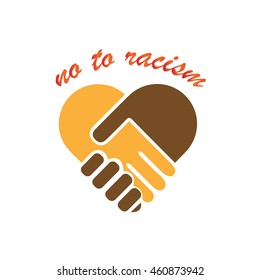 No to racism illustration. Discrimination symbol. Handshake forming heart sign.