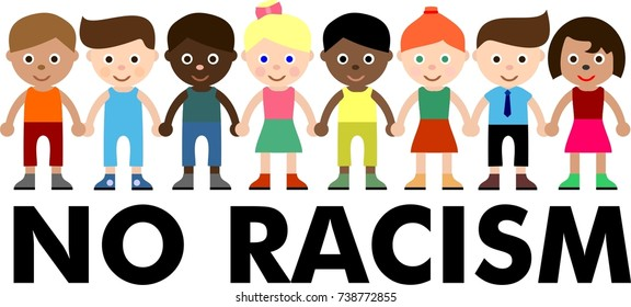no racism, stop discriminate, different skin, child, kids, logo, icon, flat