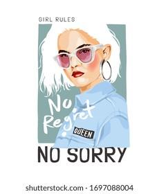 no regret slogan with girl in sunglasses illustration
