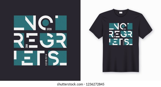 No regrets abstract geometric vector t-shirt and apparel design. Global swatches.