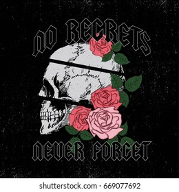 No Regrets Grunge Rock And Roll Slogan Fashion patch, badge Girl Gang skull  and Rose with Leaves Punk girl gang, T-shirt apparels print tee graphic design. Vector stickers, patches vintage rock style