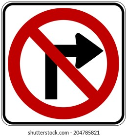 No right turn road sign on white background. Vector illustration.