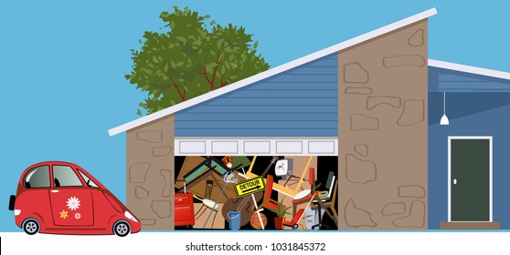 No room for a car in a garage of a hoarded, overfilled with stuff, EPS 8 vector illustration