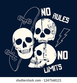 No rules No limits typography. Skeleton,skull,skateboard drawing. Fun t-shirt design for kids.Vector illustration design for fashion fabrics, textile graphics, print.