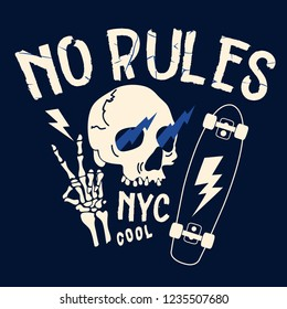 No Rules typography. Skeleton,skull,skateboard drawing. Fun t-shirt design for kids.Vector illustration design for fashion fabrics, textile graphics, print.