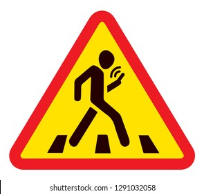 No run across town walkway. Ban smart tablet badge on white background. Social busy concept Wifi sms gps signage. Black draw man figure logo emblem in modern silhouette graphic style on space for text