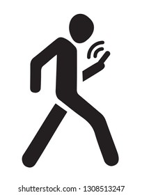 No run across town walkway. Ban smart cell tablet badge on white background  for text. Social busy conceptual Wifi sms gps signage. Black draw man figure logo emblem in silhouette graphic style