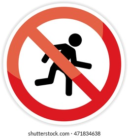 No run sign on white background.vector illustration