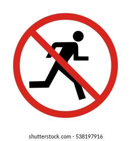 No run sign, vector illustration