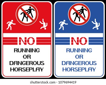 No running or dangerous horseplay. A poster that restricts certain actions in a given territory.