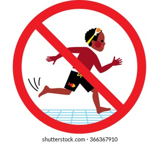 No running in swimming pool area. Vector illustration. Flat design. Sports for children. Black boy running on the  floor.