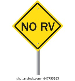 No RV warning road sign for recreational vehicle