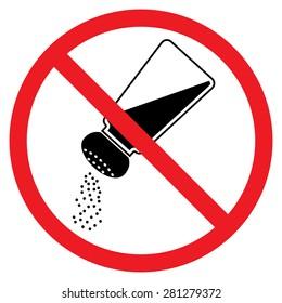 Keine Salzzeichen. Rotes Untersagungszeichen. Stoppsymbol