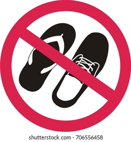No sandals or shoes sign on white background. vector illustration.