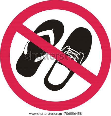 No Sandals Shoes Sign On White Stock Vector Royalty Free