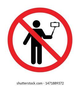 No Selfie sign, Taking selfie photo prohibition symbol sticker for area places, Isolated on white background, Flat design vector illustration