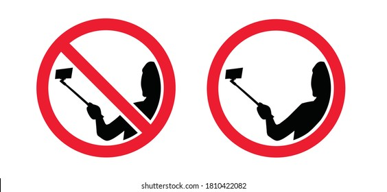 No Selfies Day. Stop no Selfie stick sign. Forbid No camera zone or photo prohibition signs. Do not with mobile phone camera, smartphone tablet a family portrait area. Self pictures not allowed