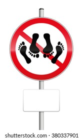 NO SEX - prohibition sign with feet of a couple having sex - isolated vector illustration on white background.