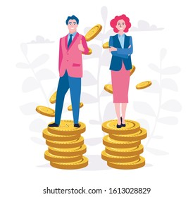 NO Sexism and no discrimination. Businessman and woman standing in golden coins, representing same wages level.  Vector illustration for web banner, infographics, mobile.