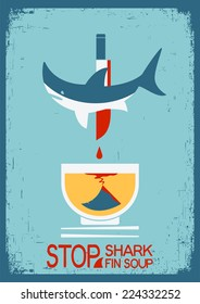 No shark fin soup.Vector poster on old paper texture