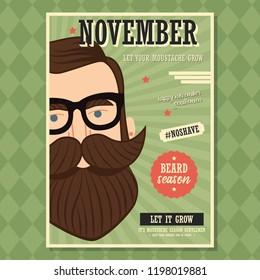 No shave November poster design, prostate cancer awareness, hipster man with beard and moustache, vector illustration