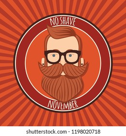 No shave November poster design, prostate cancer awareness, hipster man with beard and moustache, vector illustration