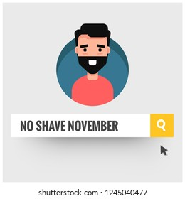 No Shave November Written in Browser Search Bar Mouse Pointer and Man Illustration with Beard