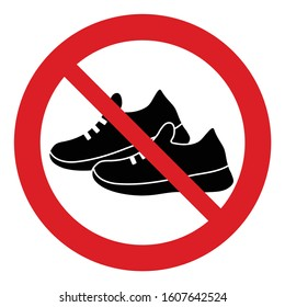 no shoes icon. Prohibited shoes icon .  no Sneakers  icon