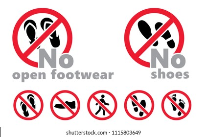 No shoes No open footwear vector icon eps alert walks Walking Stampen speedy footmark footstep feet foot walking shoes shoe sole flops slippers Do not stay No standing stop person fun funny label sign