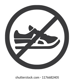 No shoes sign, icon, logo, symbol. Isolated on white background. 2D flat Style graphic design. Black and white color. Vector EPS10
