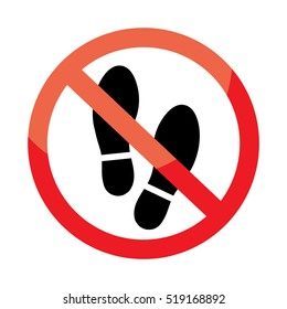 No shoes sign on white background.
