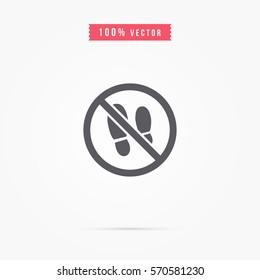 No shoes sign warning
