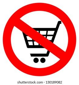 No shopping cart sign, vector illustration
