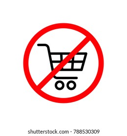 No shopping cart sign, vector isoated illustration.