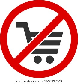 No shopping vector icon. Flat No shopping pictogram is isolated on a white background.