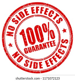 No side effects 100 guarantee red grunge stamp isolated on white background