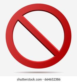 No sign. Censor, Red prohibition vector badge. Round No symbol