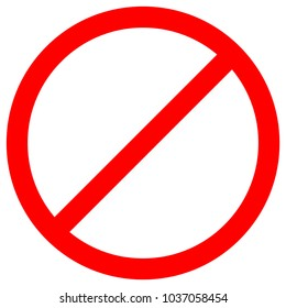 No Sign Empty Red Crossed Out Circle,Not Allowed Sign,Blank Prohibiting Symbol,Vector Illustration, Isolate On White Background Icon. EPS10