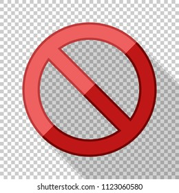 No sign in flat style with long shadow on transparent background