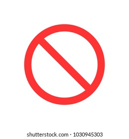 No sign. Flat vector illustration. Red circle.