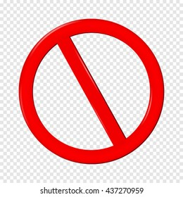 No Sign. Isolated on transparent  background.