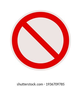 No sign isolated. Red no symbol. Circle red warning icon. Template for button or web applications. simple icon illustration