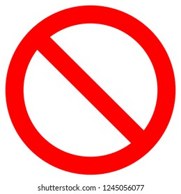 No sign - red thick simple, isolated - vector illustration