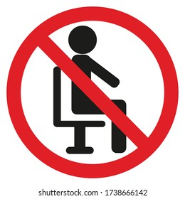 No sign to sit in this area Portrait of a black person and a diagonal circle with a red line On a white background; Simple vector illustration.