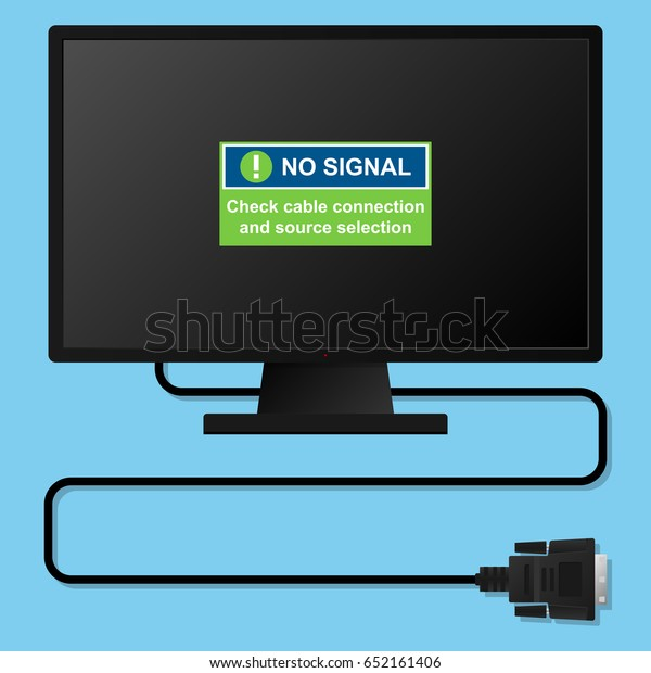 No Signal Message On Monitor Screen Stock Vector (Royalty