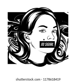 No signal. Vector hand drawn illustration of girl with censorship and discription with liquid texture. Template for card, poster, banner, print for t-shirt, pin, badge, patch.